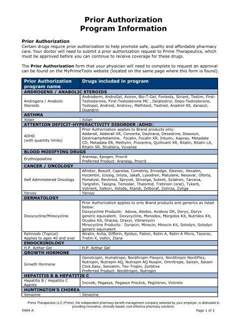Prior Authorization Program Information - Prime Therapeutics