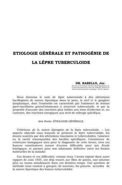 etiologie générale et pathogénie de la lépre tuberculoide