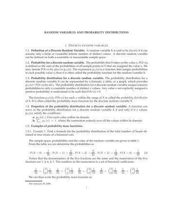 RANDOM VARIABLES AND PROBABILITY DISTRIBUTIONS 1.1 ...