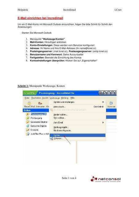 E-Mail einrichten bei Incredimail - Lcnet.cc