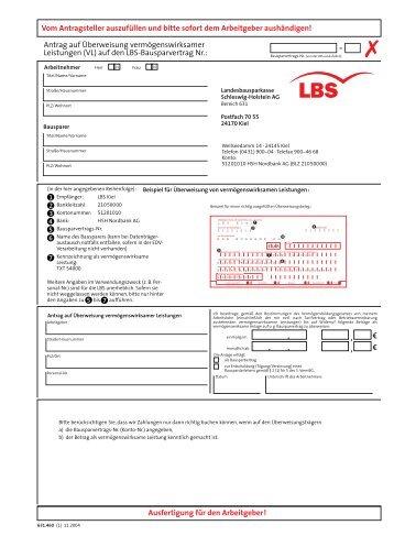 Bewertungszahl Bausparvertrag Lbs : lantrag auf berweisung verm genswirksamer leistungen lbs ~ Lizthompson.info Haus und Dekorationen