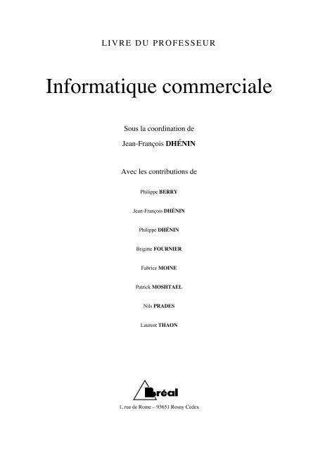 Informatique commerciale - Editions Bréal