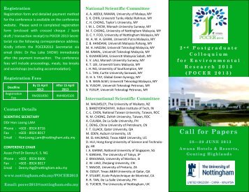 Call for Papers - The University of Nottingham, Malaysia Campus