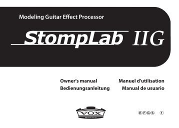 StompLab IIG Owner's manual - Vox