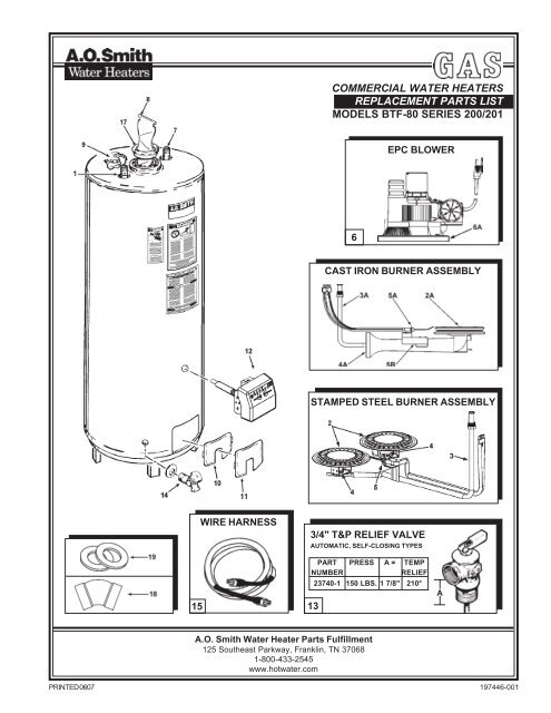 a.o. smith water heater parts