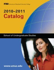 Catalog - University of Maryland University College