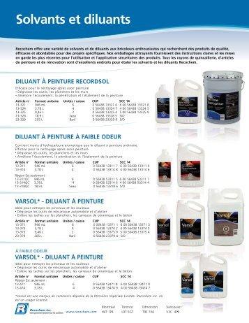 Catalogue des solvants et diluants - Recochem Inc.