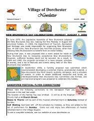 July 24 - Village of Dorchester