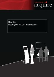 How to read your Plus! Information Manuals are provided ... - Acquire