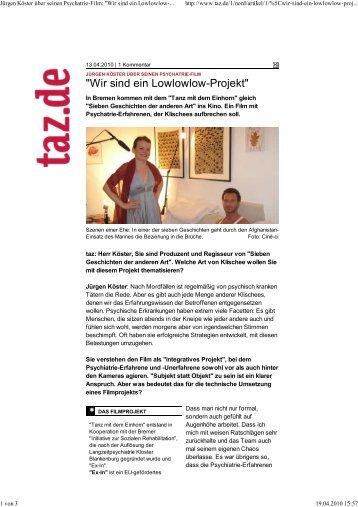 Tanz mit dem Einhorn TAZ vom 14.04.2010 - Initiative zur sozialen ...