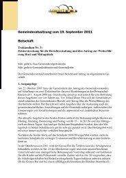 Gemeinderatssitzung vom 19. September 2011 Botschaft - Domat/Ems