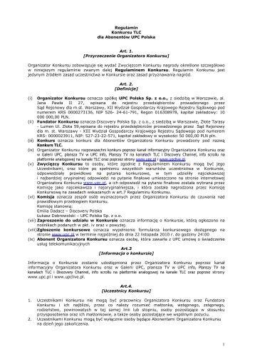 Regulamin Konkursu TLC-UPC - UPC Polska