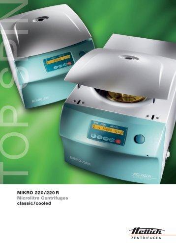 Download Mikro 220R PDF Datasheet - Hettich Centrifuges UK