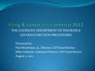 Fraud Section Filings - Louisiana Department of Insurance