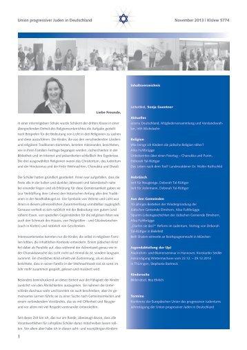 Vierter Newsletter der Union progressiver Juden in Deutschland