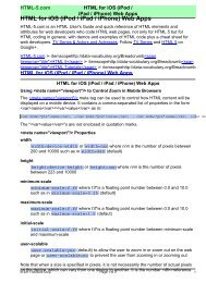 HTML for iOS (iPod / iPad / iPhone) Web Apps - HTML 5 Reference ...