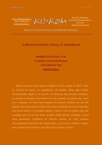 pablo fuenteseca: in memoriam - revista internacional de derecho ...
