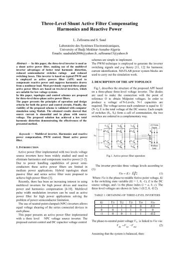 Three-Level Shunt Active Filter Compensating Harmonics and ...