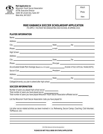 mike kabanica soccer scholarship application - Wisconsin Youth ...