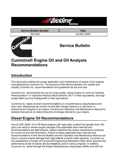 Service Bulletin Cummins® Engine Oil and Oil     - Granly Diesel A/S