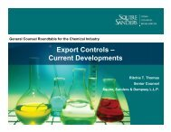 Export Controls – Current Developments - Squire Sanders