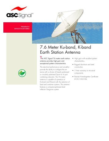 7.6 Meter Ku-band, K-band Earth Station Antenna - Vincor