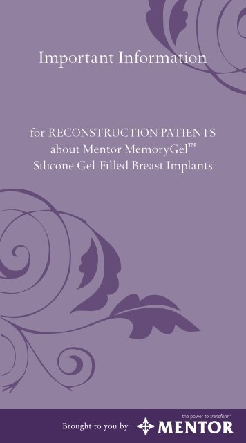 Important Safety Information for Reconstruction Patients ... - Mentor