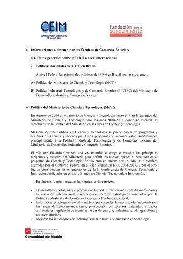 Informe sobre las Política de I+D. Brasil. - Madri+d