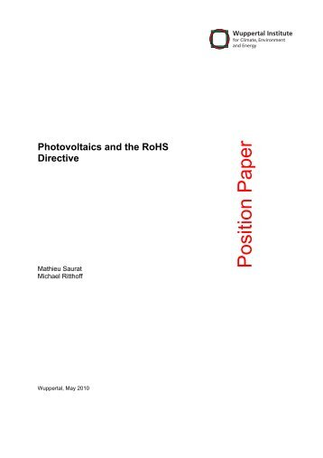Photovoltaics and the RoHS directive