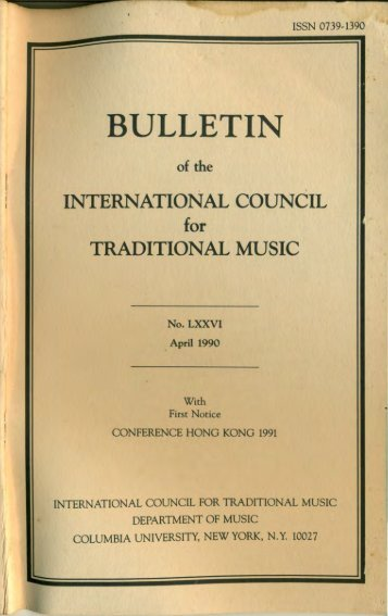 Apr 1990 - International Council for Traditional Music