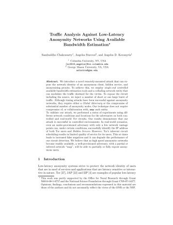 Traffic Analysis Against Low-Latency Anonymity Networks Using ...