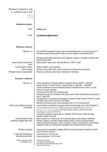 Modello Per Presentazione Curriculum Vitae Europeo