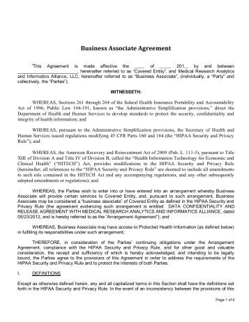 Hipaa Business Associate Agreement Business Agreement Templates