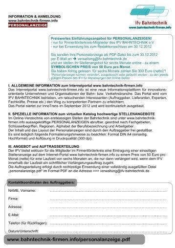 Stellenangebot - Herzlich Willkommen beim IFV BAHNTECHNIK eV