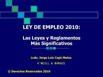 Revisión del Año 2010-Las Leyes y Reglamentos de Empleo Más ...