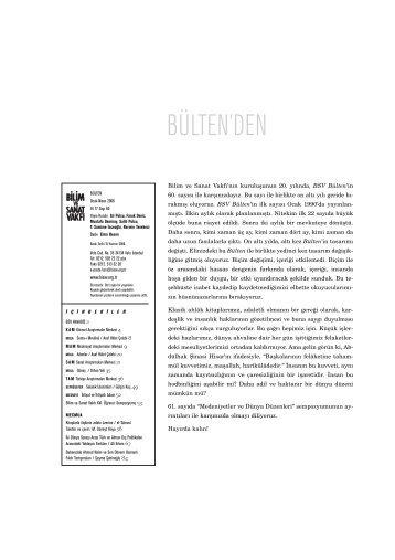 bülten 60 (pdf) - Bilim ve Sanat Vakfı