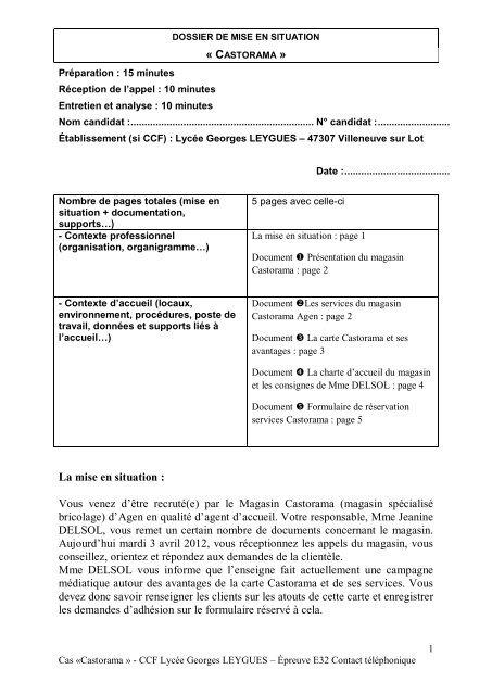 Castorama Carte Des Magasins.Sujet 5 Epreuve Ep1 Orale Castorama