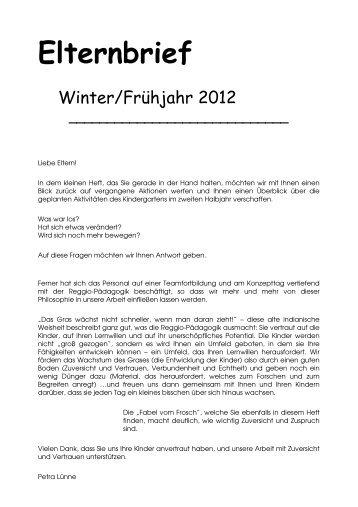 Elternbrief Frühjahr 2012 - Familienzentrum St. Martin Benninghausen
