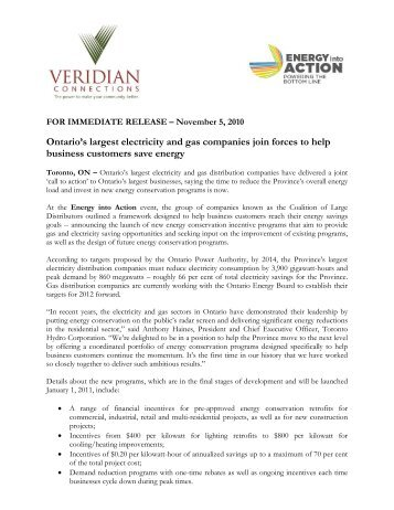 Ontario's largest electricity and gas companies join forces ... - Veridian