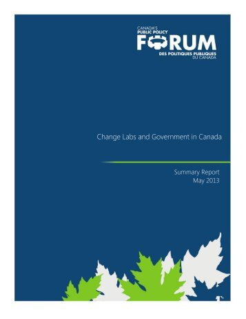Change Labs and Government in Canada - Public Policy Forum