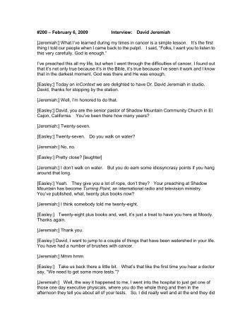 #200 – February 6, 2009 Interview: David Jeremiah ... - Moody Radio