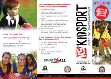 Why sport and recreation clubs are important to ... - City of Bayswater
