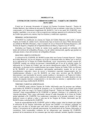 MODELO Nº 10 CONTRATO DE CUENTA CORRIENTE ESPECIAL ...