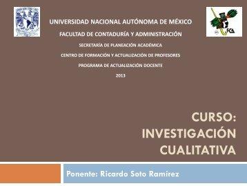 CURSO: INVESTIGACIÓN CUALITATIVA - Páginas Personales UNAM