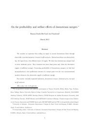 On the profitability and welfare effects of downstream mergers ∗