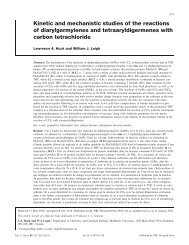 Kinetic and mechanistic studies of the reactions of diarylgermylenes ...
