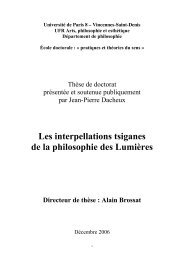 Les interpellations tsiganes de la philosophie des ... - E-Corpus