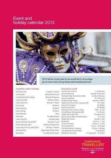 Download PDF of Event Calendar - Corporate Traveller