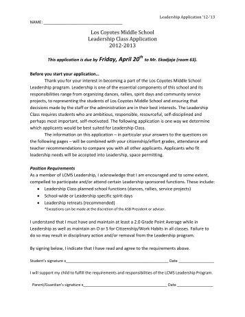 Los Coyotes Middle School Leadership Class Application 2012-2013