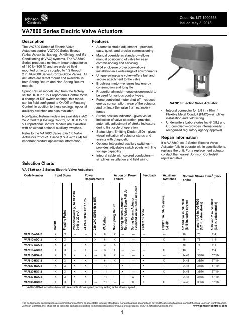 VA7800 Series Electric Valve Actuators Catalog Page - Johnson